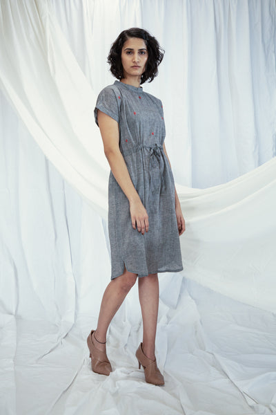 Grey Red Mulmul Draw-cord Tunic with Slip