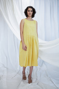 Yellow Smocking Mulmul Dress with Slip