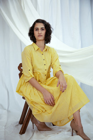 Yellow Mulmul Shirt Dress with Slip