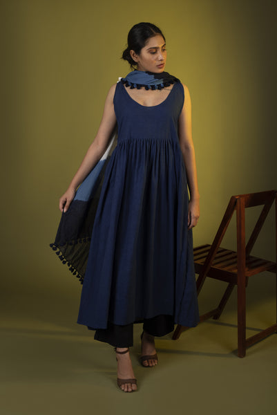 Indigo dress with black pants and dupatta