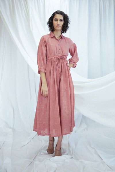 Pastel Red Mulmul Shirt Dress with slip