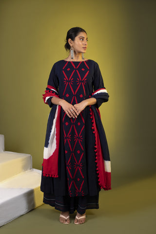 Indigo Red Applique Panel Kalidaar and palazzos with Dupatta