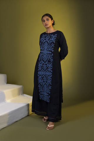 Indigo Panel Straight Kurta with Palazzos