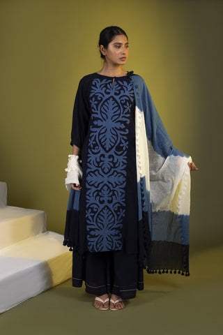 Indigo Panel Straight Kurta with Palazzos and Dupatta