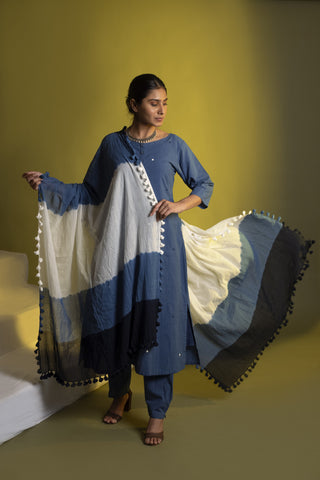 Light Indigo Co-ord Set with Dupatta