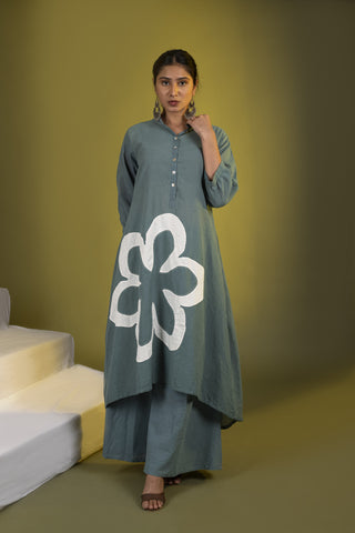 Teal White High Low Kurta and Palazzos