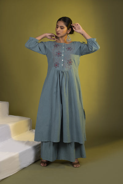Teal Embroidered Kurta Set