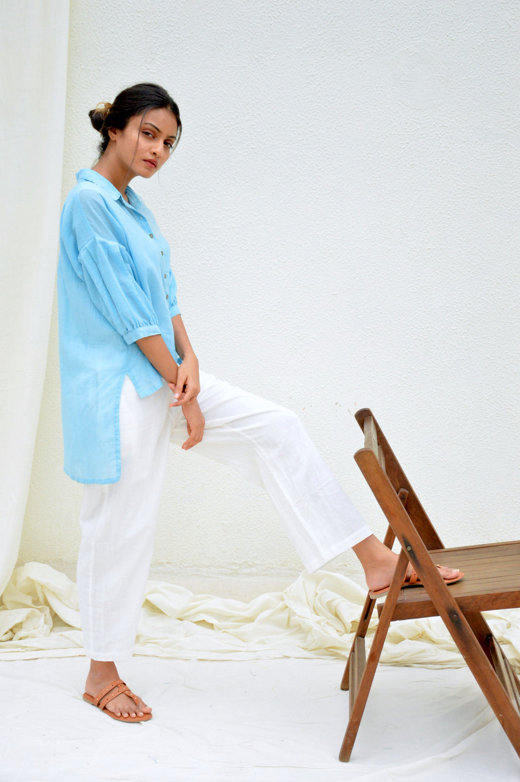 Light Blue Mulmul Kantha Top