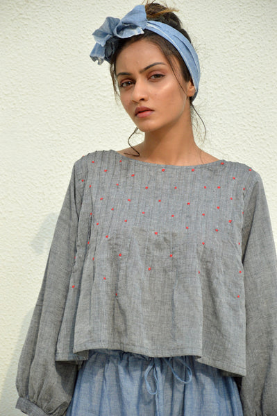 Grey Tucks Mulmul Short Top