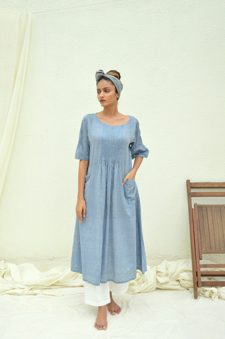Blue Hue Mulmul Pintucks Kurta with White pants
