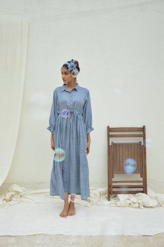Pastel Blue Mulmul Shirt Dress with slip