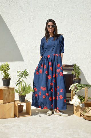 Indigo Applique Batwing Sleeve Dress