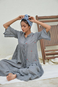 Grey Asymetric Mulmul Dress with Slip