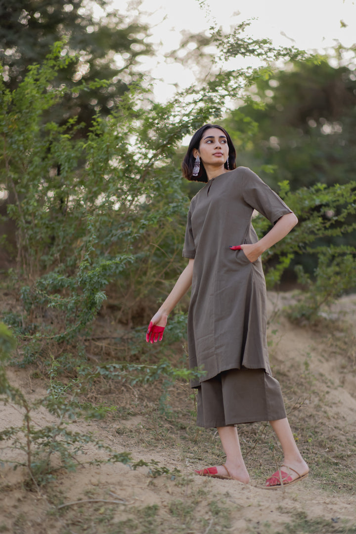 Charcoal Kurta and Culottes Set