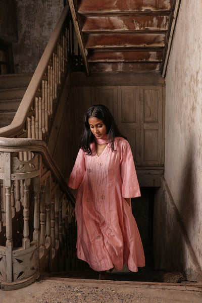 Pink Linear Embroidery Flared Kurta with Pants(Set of 2)
