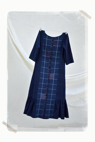 indigo check button down panel dress with side gathers