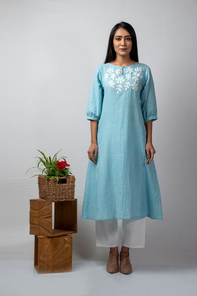 Blue self-checks mulmul applique kurta