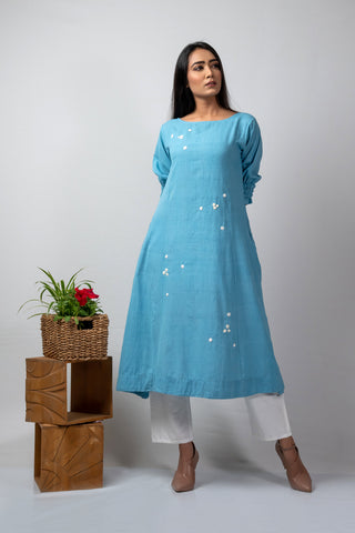 Blue Cotton Kurta with applique dots