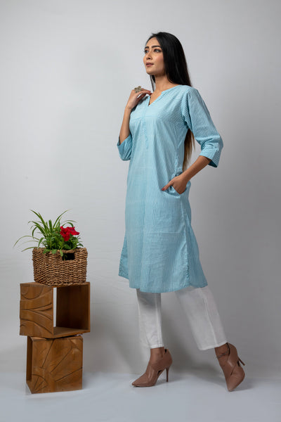 blue block printed stripes kurta