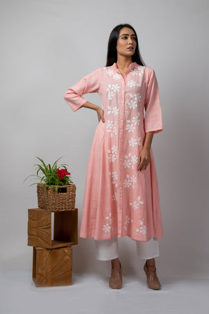 Pink Checks Kalidaar with Floral Applique