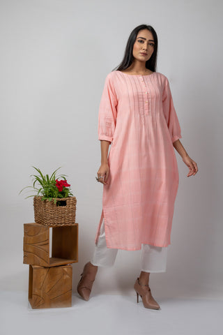 Pink Checks Kurta with Pin Tucks