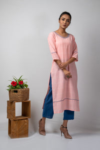 Pink Checks Kurta with Kantha