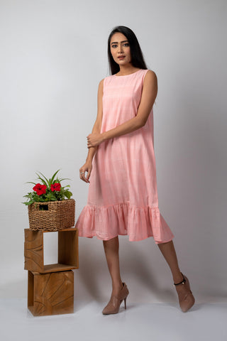Pink Checks Gathered Hem Dress