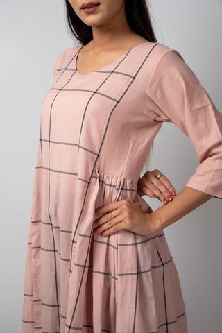 Pink Grey Check Panel V-neck Dress