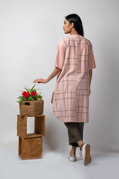 Pink grey checks anti fit tunic
