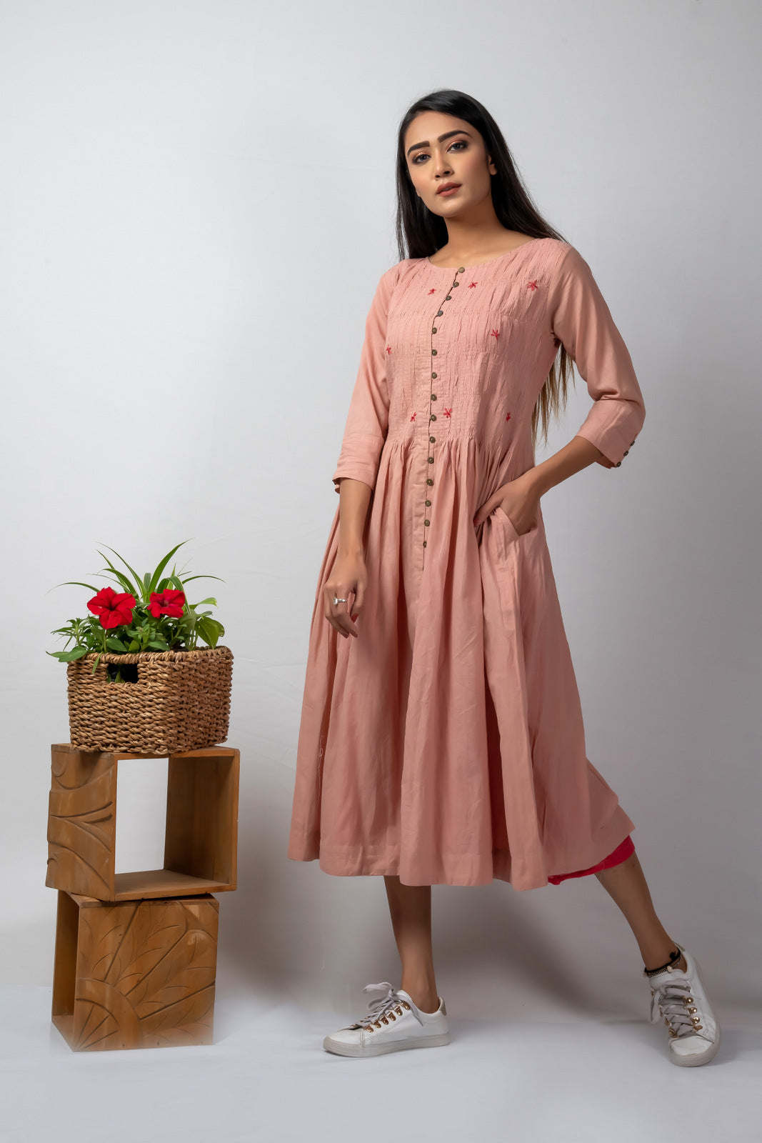 pink mulmul smocking dress with embroidery+ crimson slip