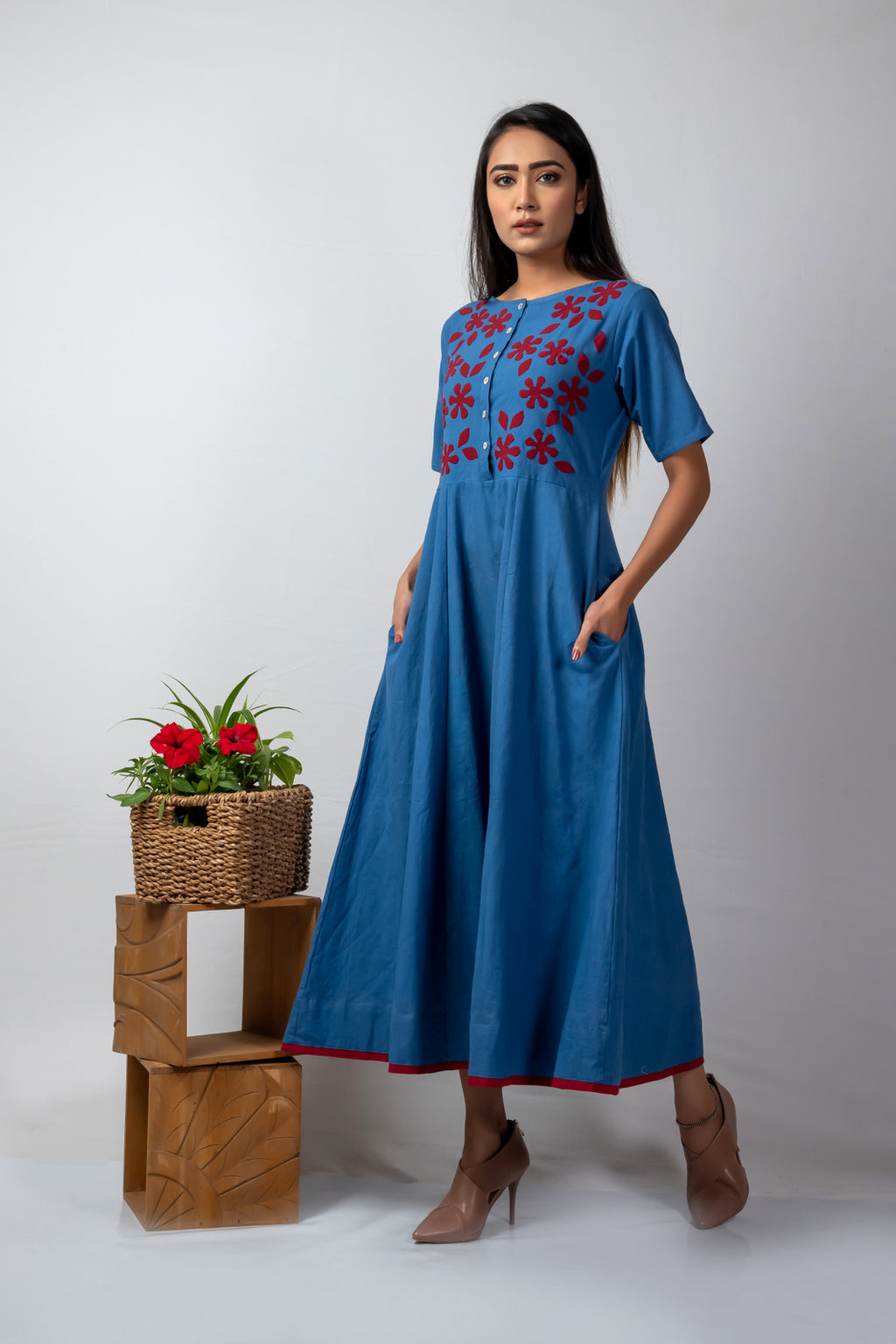 Blue Kalidaar with Red Applique