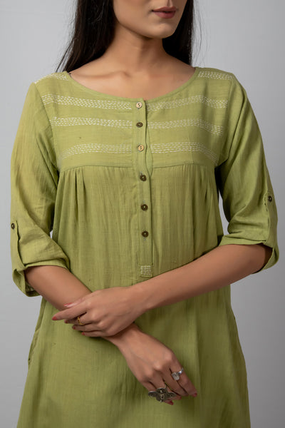 green high low tunic with white kantha details