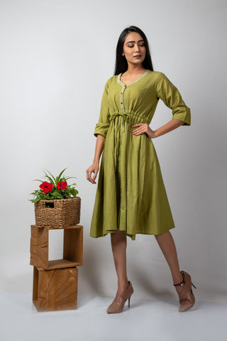 green self checks mulmul draw-waist dress with white kantha details