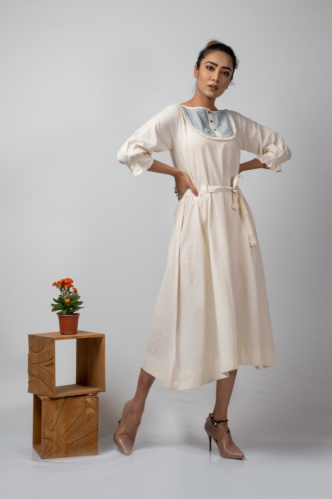 off white handloom cotton dress with kantha yoke and belt