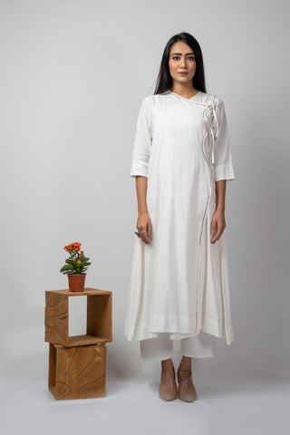 white self checks angrakha with embroidery details + white slip