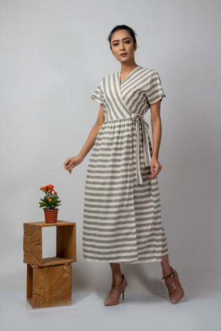 white grey stripe wrap around dress