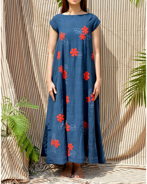 Indigo Floral Applique Dress