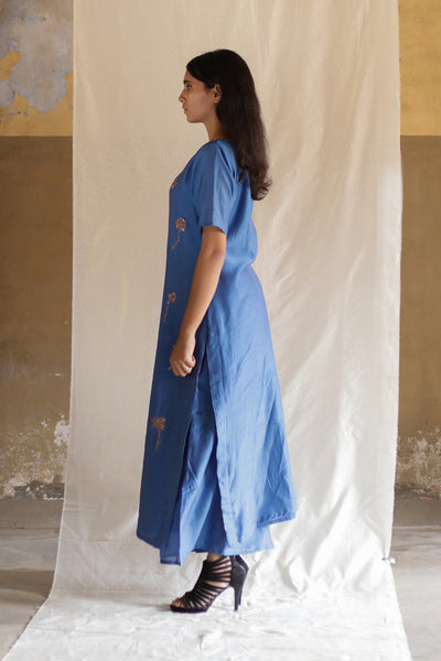 Blue Lotus Stem Kurta with Pants (Set of 2)