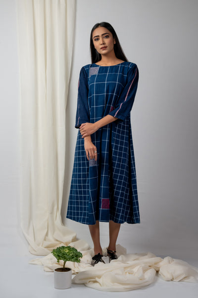 Indigo checks and fills batwing sleeve tunic