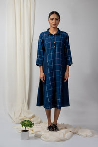 indigo checks A line tunic with pockets