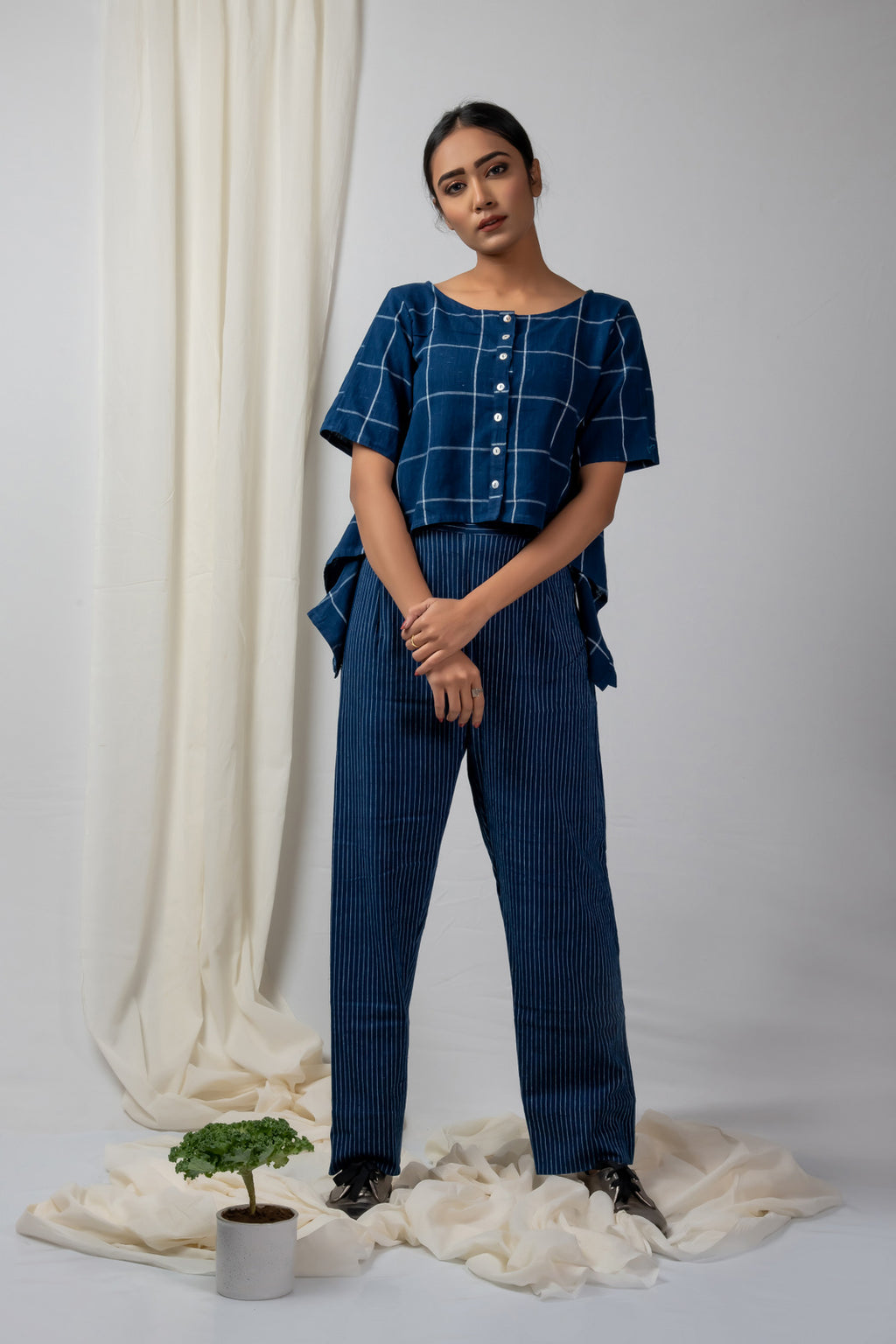 indigo checks asymetric top