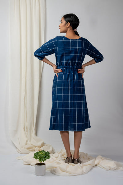 indigo checks draw waist dress
