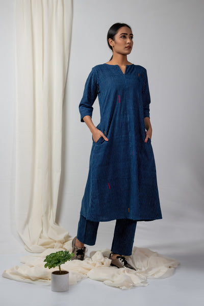 Indigo Striped Kurta and Pants Set