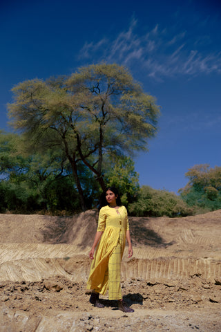 Mustard mulmul handloom gathered jacket with check pants and crop top