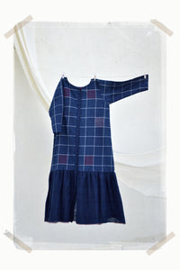 INDIGO big checks dress with gathered hemline