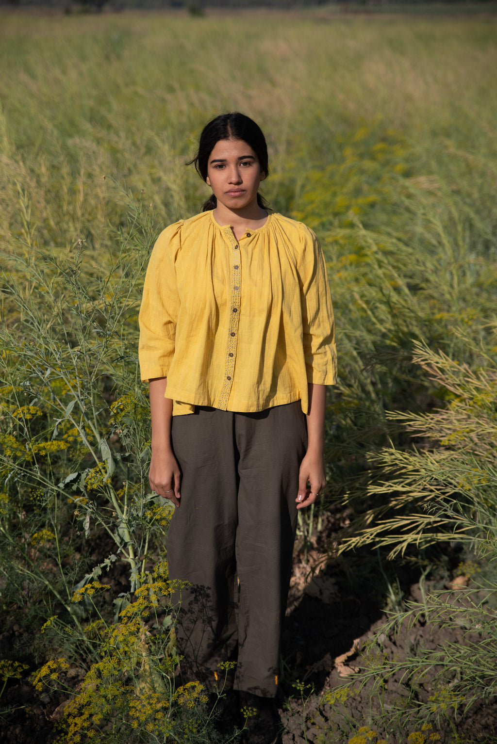 mustard short gathered top