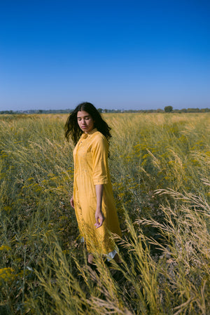 mustard mulmul tunic with pin tucks