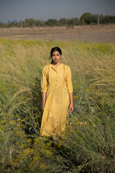 mustard mulmul applique frill yoke tunic