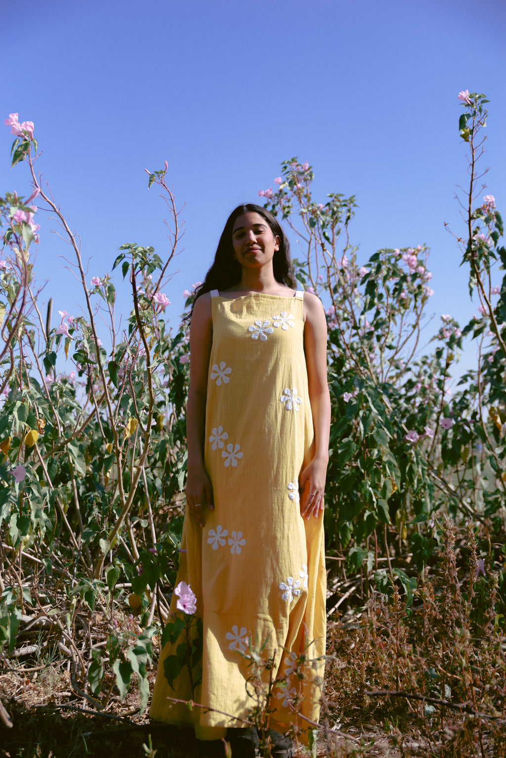 mustard maxi with white flowers applique
