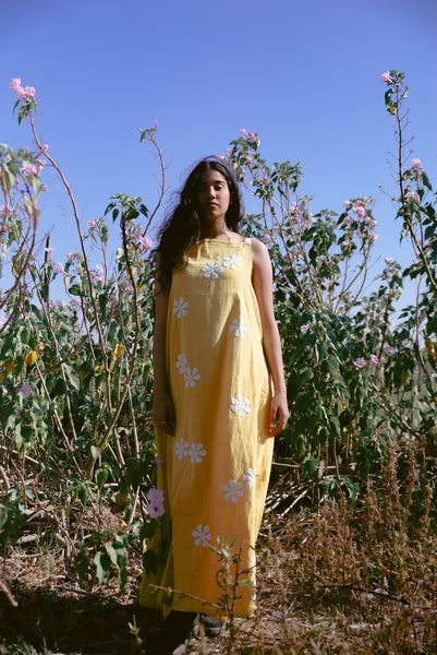 mustard khadi maxi with white flowers applique